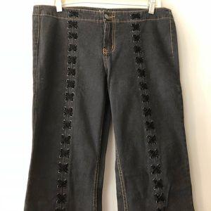 Vtg 90's LEI Velvet Lace Up Flare Jeans Size 11